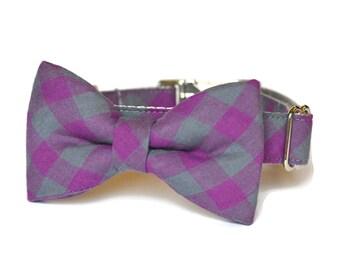 Purple Buffalo Plaid B ow Tie Dog Collar, Plaid Bow Tie Collar, Tartan Bow Tie Collar, Plaid Bow Tie, Metal Hardware, Bowtie