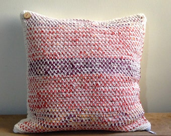 Eco pillows - eco-friendly crocheted from regenerated cotton and fabric strips