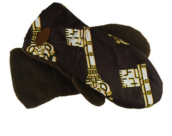 African print warm mittens, brown mittens, women mittens, lined mitten, wax and fleece mittens, women gloves, made in Quebec, winter mittens