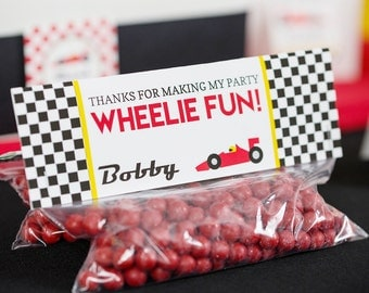 Race Car Party Treat Bag Topper INSTANT DOWNLOAD - Racing Favor Bag by Printable Studio