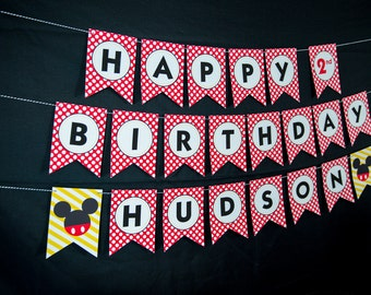 Mickey Mouse Birthday Banner - Instant Download Mickey Mouse Printable Banner by Printable Studio