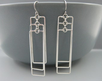 Silver Geometric Earrings - modern minimal rectangle earrings, long minimalist art deco, lightweight rectangular - Cascading Rectangles