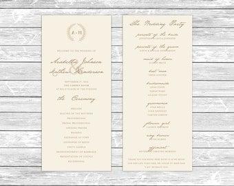 Printable Wedding Program/Customizable Program/Wedding Ceremony/Modern Wreath Typography/Monogram Wedding Program