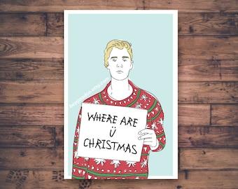 Printable Christmas Card - Where Are U Now Christmas Justin Bieber - Funny Christmas Card - Ugly Christmas Sweater - Printable Digital Card