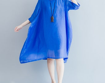 women summer dress/women silk dress/women leisure dress/women blue dress/
