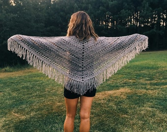 Womens Shawl - Triangle Scarf - Fringe Shawl - Crochet Shawl - Scarf