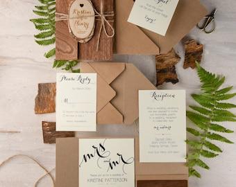 Rustic Wedding Invitation (20), Real Wood Invitation, Engraved Slice Invitation, Wooden Wedding Invites, Recycled Eco Chick Invitation