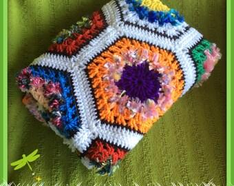 Handmade Colourful Hexagon Crochet Baby Blanket Rug Throw