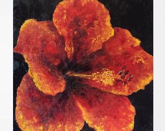 "Square art Painting flower Hibiscus flower painting Hibiscus painting Bedroom art Flower wall art Oil painting Floral hibiscus art 24x24"""