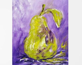 Pear painting Colorful art Fruit art Pear art Colorful painting Fruit painting Original oil painting Colorful abstract painting 8x10""