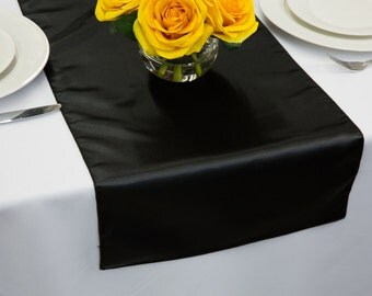 Black Satin Table Runner | Wedding Table Runners