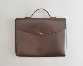 Leather briefcase - Robyn brown leather briefcase / leather laptop bag mens briefcase brown briefcase slim portfolio bag man's briefcase