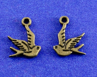 10 pcs- Tiny Bird, 15mm x 12mm Brass Swallow Charm, Double Sided Bird Pendant,