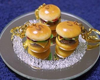 Burger Keychain Charm