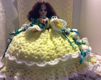 Vintage Mardi Gras Doll, Pillow Doll, Toilet Paper Doll, Yellow and White Crochet Doll with Flowers, Shabby Chic Decor