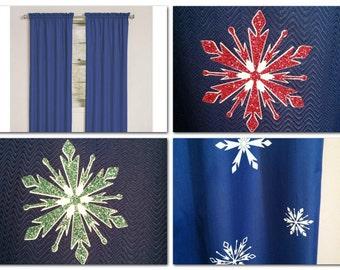bedroom decor,window curtains,curtains,custom curtains,blackout curtains,blackout drapes,kid room decor,curtain panels,snowflake,unique gift