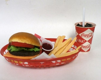 Cheesecurger/fries/ w/60's original diamond coke cup ships free in us
