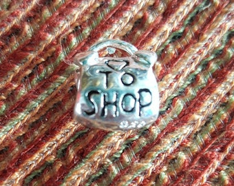 Love to shop charm, 1 silver purse shaped charm beadshaped engraved, bracelet charms, purse charms, charms for bracelet, shopping charms