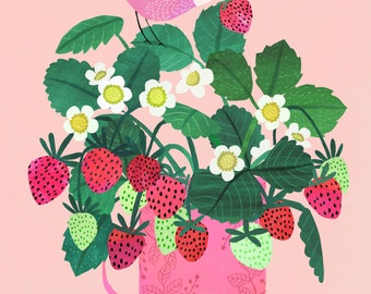 Strawberries...Giclee print of an original illustration
