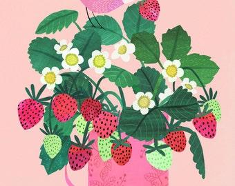 Strawberries...Giclee print of an original illustration