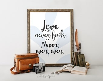 Love never fails sign Printable art print Master bedroom wall art Living room decor prints Love quote print Printable quote Love wall art