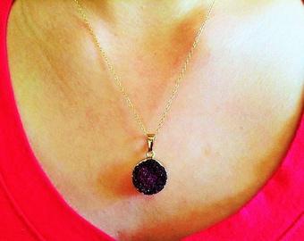 Dark purple necklace, amethyst druzy necklace, round purple druzy necklace, druzy jewelry, amethyst jewelry, amethyst necklace