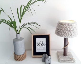 Lamp with real tree branch and crochet lampshade - Unique eye catcher for natural interior - OOAK