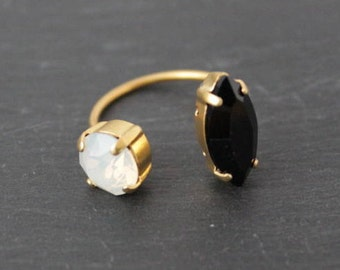 Ring double cirstal swarovski open adjustable gold gilded brass end