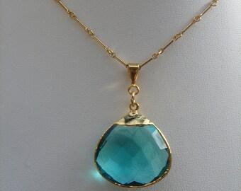 Goldfilledkette with wonderful hydro Blue Topaz