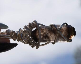 Smokey Quartz Fine Silver Wire Wrapped Pendant