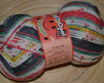 Opal Sock Yarn 7935 Smile 75/25 % wool nylon superwash 100g red / black / watermelon white wide stripe