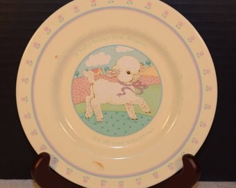 Baby Lamb Hallmark Plate 1984 Vintage A baby brings new dreams Collectible Children's plate Baby's First Plate Made in Japan Child Plate