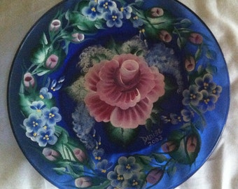 Hand Painted Blue Glass Plate