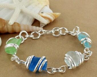 Multi-Colored Sea Glass Bracelet
