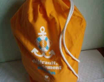 Vintage bag orange duffel bag backpack in cotton, walk, hiking, beach, sport,