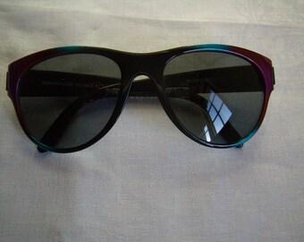 Old sunglasses, black plastic, Made in France, SunWatch Vintage 1980,