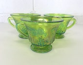 Indiana Carnival Glass Snack Tea Cups Set of 3 Vintage Harvest Grape Pattern Lime Green