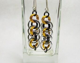 Steelers Earrings, Chainmaille Earrings, Football Earrings, Football Jewelry, Gift For Her