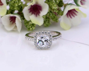 2 Ct Cushion Cut Halo Engagement Ring - Sterling Silver Engagement Ring - Promise Ring - Cushion Cut Ring - Cubic Zirconia Ring