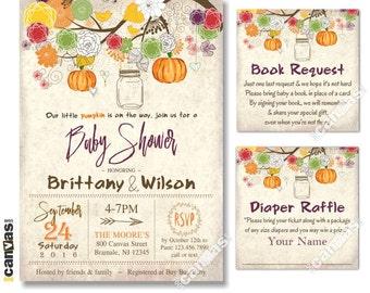 Fall Baby Shower Invitations Little Pumpkin Rustic Fall Mason Jar Shower Party Invites Autumn Halloween Retro // Printable OR Printed BS250