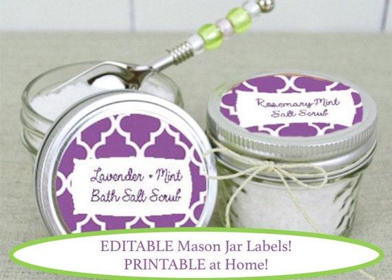Editable And Printable Mason Jar Labels Purple Moroccan
