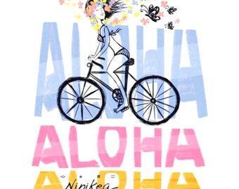 Baby T-shirt, Aloha Bike, Toddler T-shirt, Kid t shirt, Hawaii Baby – white cotton, exclusive design, unisex