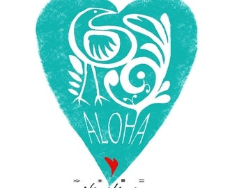 ALOHA Heart - V-neck T-shirt – VALENTINE GIFT, exclusive design, for women, girls – handmade in Hawaii