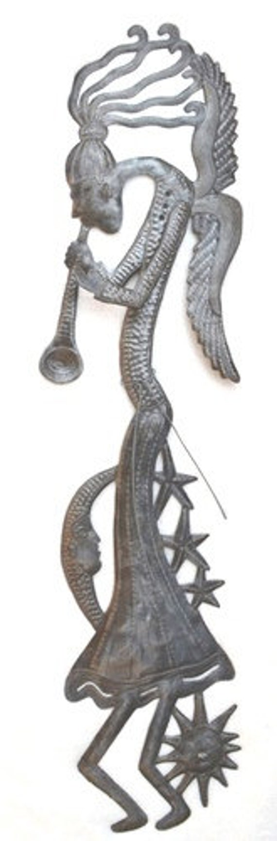 """Angel Playing Trumpet, Recycled Whimsical Garden Haiti Art 6"""" x 34"""""""
