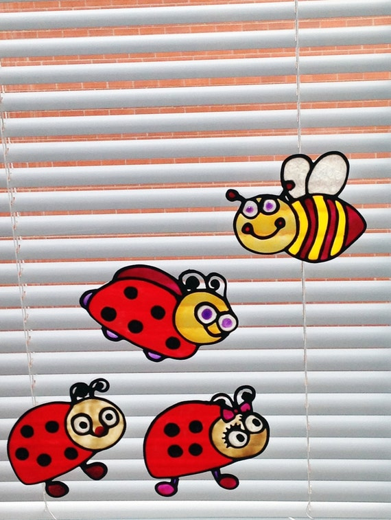 Happy Ladybugs and a Bee - Faux Stained Glass Window Clings, Sun-catcher, Mirror or Smooth Surface Décor for Kids, Nurseries, Children