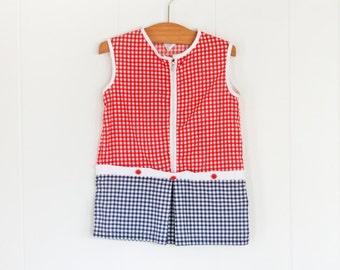Mod 12-18 Month Baby Dress // Vintage Blue & Red Girls Gingham Dress
