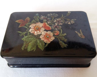 Antique Papier Mache Lacquer Box painted with Flowers, England, 1860s