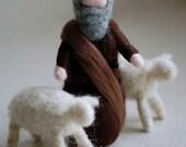 Shepherd with two sheep, ...