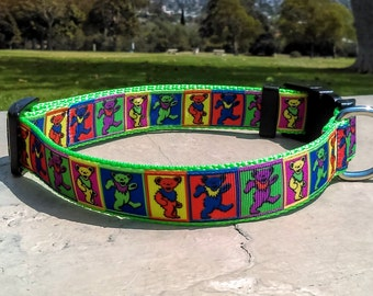 Grateful Dead Dancing Bears Adjustable and Handmade Dog Collar