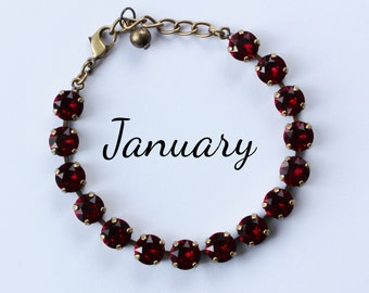 January Birthstone Bracelet - 8mm Red Siam Swarovski Crystal Bracelet